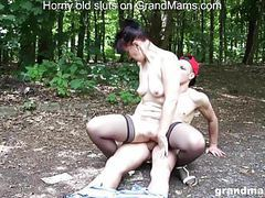 Old slut vicky almost caught fucking young daniel outdoors clip