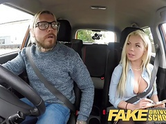 Fake driving school busty blonde is cum hungry on test movies at freekilosex.com