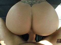 Busty beautiful amateur blonde fucks in the car! videos