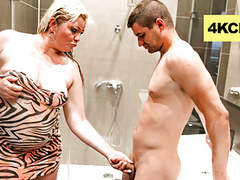 Wet mature blonde messing up a twink's cock videos