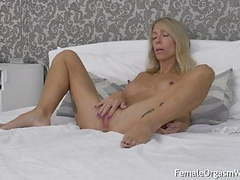 Long nippled milf moans and masturbates her twat videos