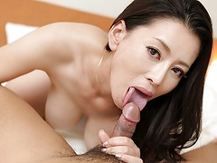 Japanese mature, rei kitajima sucks cock, uncensored videos