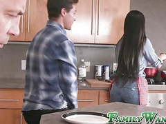 Tattooed stepmother bangs with her son in front of husband movies at kilovideos.com
