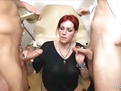 Doctor seduce german redhead mature to threesome at practice movies at freekilomovies.com