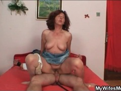 Horny old lady takes a ride on his dick videos