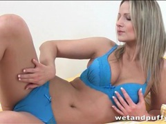 Pussy lips look hot behind her blue panties movies