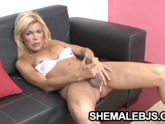 Faxiana - horny blonde shemale mouth and hand workout videos