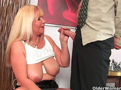 Slutty grandma sucks cock and gets a mouth full of cum videos