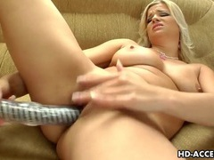 Gorgeous blonde cookie dildoing the pooch. videos