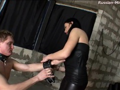 Dominatrix takes pleasure in abusing his cock videos