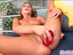 Leggy chick with bald pussy fucks a toy movies at sgirls.net