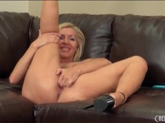 Milf blonde with fake tits masturbates videos
