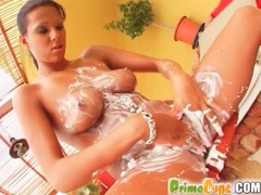 Black diamond pours cream on her big tits videos