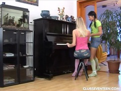 Sexy lesbians toy muffs on piano videos