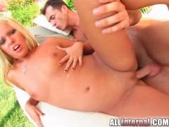 Blonde strips outdoors and has anal creampie movies at freekilopics.com