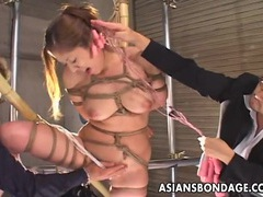 Delicious asian gal has her pussy stimulated during bondage tubes at chinese.sgirls.net