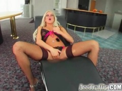 Horny blonde in sexy fishnets fucked anally movies at kilosex.com