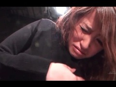 Japanese girl in black sweater groped in close up videos