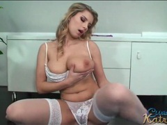 Katrin kozy models her body in white lingerie videos