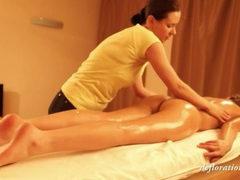 Young lady gets sexy oil massage videos