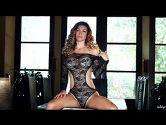 Busty goddess heather vandeven in black lace clip