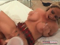 Schoolgirl lesbian fucked by strapon dildo movies at lingerie-mania.com