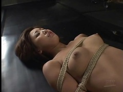 Bound girl cries out in pain during hot wax play videos