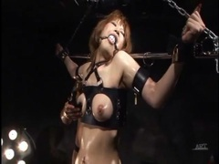 Babe put in erotic bondage and coated in oil tubes at lingerie-mania.com