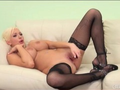 Bimbo in black stockings plays solo videos