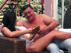 Hot young brunette sucks old man cock movies at kilopills.com