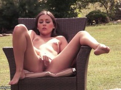Small tits solo girl fingers her cunt outdoors videos