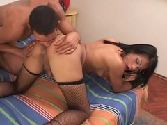 Tgirl in black fishnets fucked doggystyle movies at kilotop.com