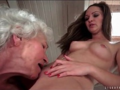 Grey haired granny eats out shaved young pussy movies at find-best-lesbians.com