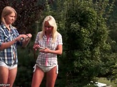 Blonde girls with small tits kiss outdoors movies at freekilomovies.com