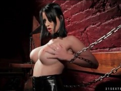 Kinky brunette dildo fucks her box in dungeon videos