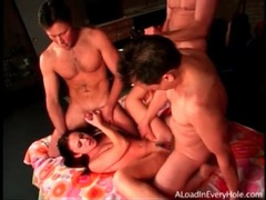 Three hard cocks gangbang a dirty slut videos