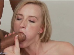 Skinny blonde gives big cock a blowjob videos