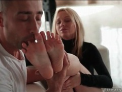 Black turtleneck on beauty giving a footjob videos