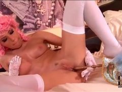 Pink wig and stockings on sexy girl movies