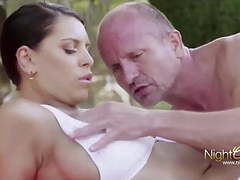Brunette backyard fuck by the pool movies at kilogirls.com