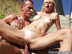 Hardcore drilling outdoors with young dude and old woman movies at freekiloclips.com