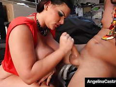 Curvy cuban export angelina castro blows hard grease monkey! movies at freekilomovies.com