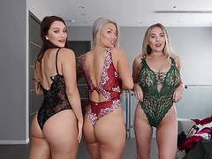Threesome lingerie try on haul videos