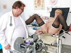 Horny granny's gyno exam and fucking machine orgasm videos