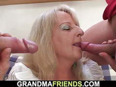 Boozed blonde granny takes two big cocks from both sides movies at kilovideos.com