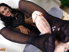 Mistress alexya gives footjob in pantyhose movies at freekilomovies.com