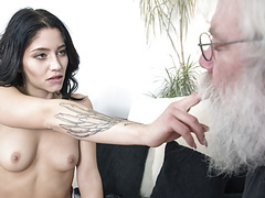 Grandpa sucks young girls tits then gets a blowjob movies at kilomatures.com