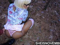 Have foreplay with ebony step daughter after church outside movies at kilovideos.com