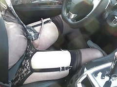 Crossdresser sissy drive in the city in garter belt and soun movies at kilogirls.com