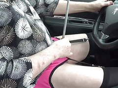 Crossdreeesr sissy takes her car and goes to the supermarket movies at freekilomovies.com